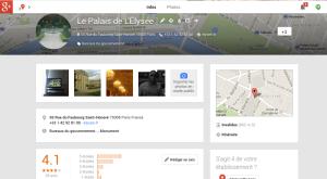 La page abandonnée de l'Elysée sur Google+